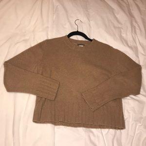 J Crew 100% Wool brown/tan sweater 3/4 sleeve